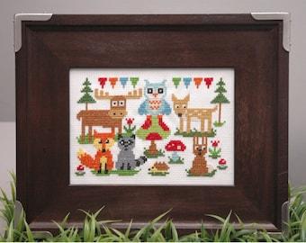 Woodland Animals Cross Stitch Pattern Instant Download