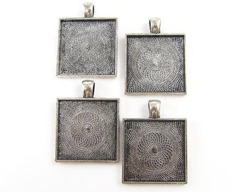 20 Pcs Pendant Tray - 1 Inch Square 25mm Antique Silver Bezel Blank Finding |CR2-1|20