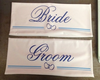 Wedding Personalized Lycra Chair Band Custom Chair Sash for Bride and Groom Made from Spandex for a Snug Fit on Any Chair