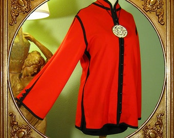 60s red Chinese British Crown Colony wool jacket. M.