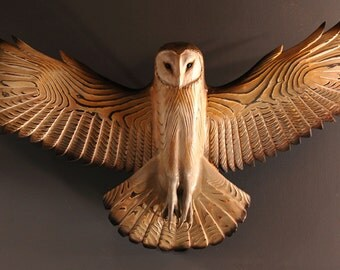 Barn Owl wood sculpture wall art  Jason Tennant