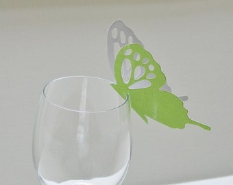 Wine Glass Butterfly Place Card Lime Green Glitter (32)