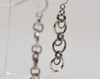Sterling silver, steel & titanium chainmaille dangle french wire earrings