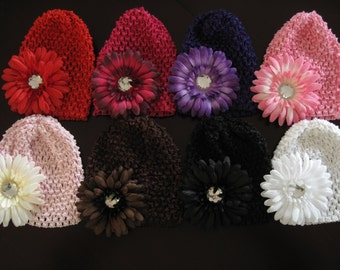 50% OFF--YOUR CHOICE of any Gerbera Daisy Flower and Waffle Hat Set--Pick one of the Available Colors