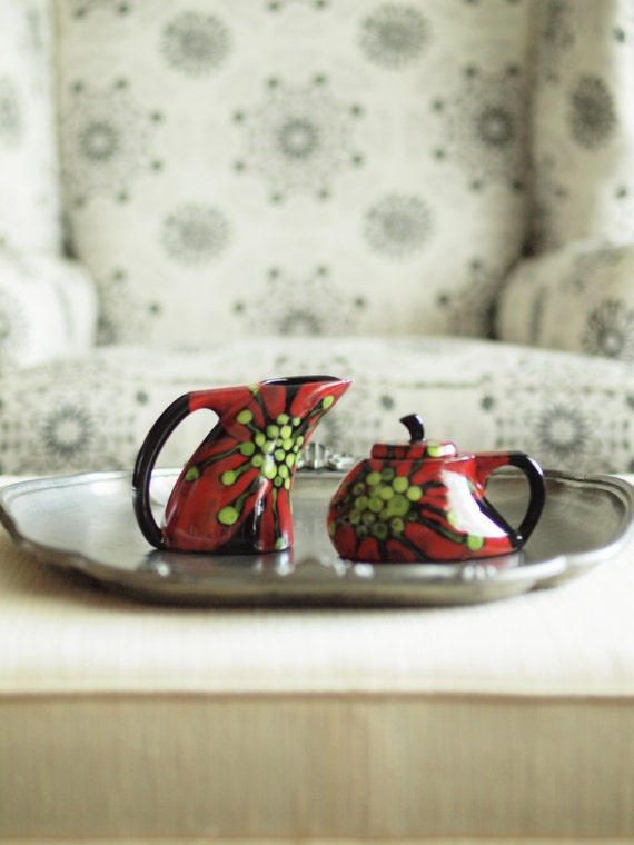 Holiday Red Cream & Sugar - Red Poppy Floral Cream and Sugar Set - Bold Ceramic Pottery Serving Home Decor Christmas Gift Giving RP-374