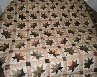 Amish Made, Handstitched, Hand Made  - King Size AUTUMN LEAVES Quilt-Custom Orders are Available