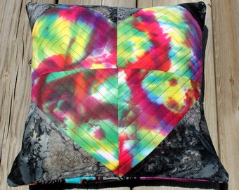 Quilted Patchwork Heart Pillow - Women's Heart Health Awareness - 12""
