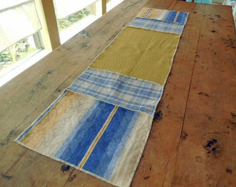 Country Feel Table Runner Of Three Different Designer Fabrics In Shades of Blue And Yellow