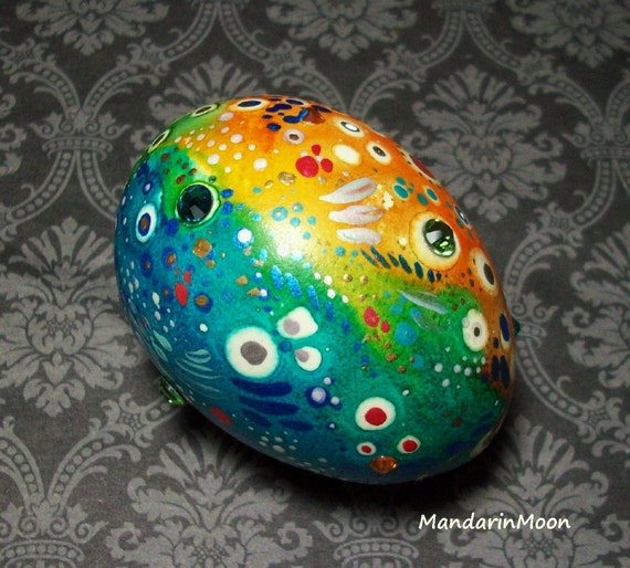 Super SALE! Hand Painted Egg Ornament Real Chicken Egg