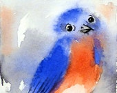 Blue Bird painting - Watercolor Print - Eastern Bluebird Nature art bird painting, Woodland creature wildlife painting art red white blue, B