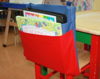 5 MEDIUM 2 Pocket Chair Pocket Seat Desk Sack Washable Colored Duck Cloth Create your OWN COLOR Combination Chair Pocket Factory