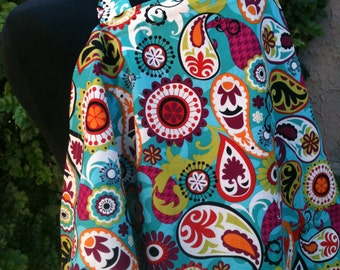 Nursing Cover- Turquoise Paisley