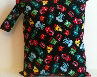 Wet Bag For Cloth Diapers,Wet Bag, Cloth Diaper Bag, Diaper Bag,Gym Bag, XL  Monsters