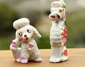 Vintage Pink and White Poodle Ceramic Figurines Made In Japan