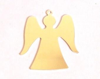"Angel tag 22 gauge sterling silver .925 1 1/4"" x 1 1/8"" set of 2"
