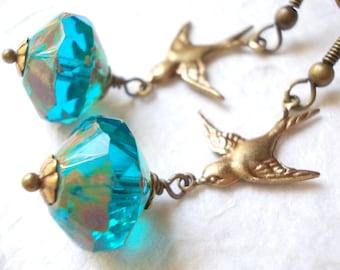 Unique Design Swallow Earrings handmade brass glass jewelry dangle earrings blue modern retro antiqued brass blue swallow romantic jewellery