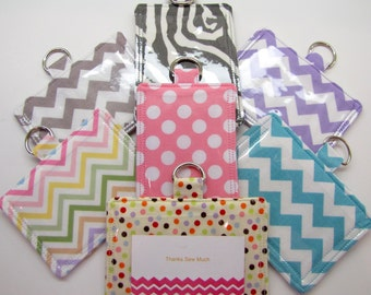ID Pouch w/ Back Pocket to Hang From Your Lanyard Horizontal or Vertical Pick Your Own 70 Fabrics Hang from your Lanyard