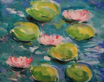 Togetherness - Original Water Lilies Painting