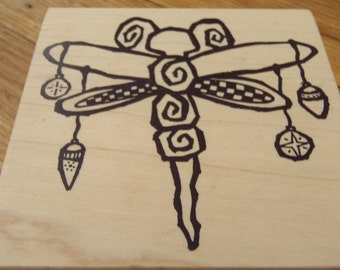 Holiday Dragon Fly Rubber Stamp