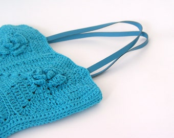 Crochet turquoise blue granny square tote bag, flower rose, small size, leather straples, cotton yarn, boho style bag
