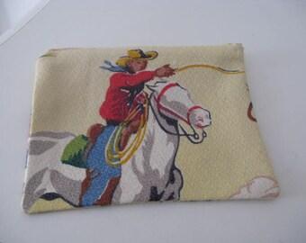 Vintage yellow barkcloth change purse - cowboys