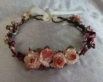 Bridal Hair Wedding Hair Flower Crown Rose Crown Coachella Hair Wreath Boho
