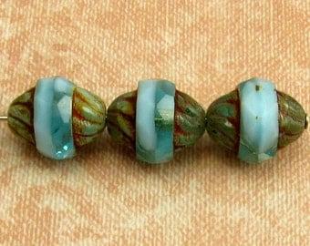 Czech Glass Turbine Beads, Marbled Aqua Picasso, 11x10 MM, 6-Pieces C326
