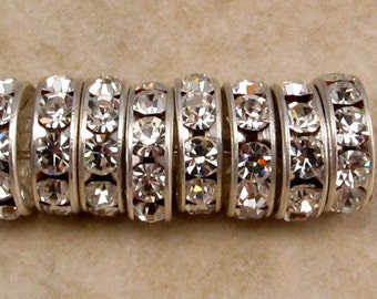 Silver Rhinestone Rondelle Spacer, 10 mm, Crystal 12 Pc. C335