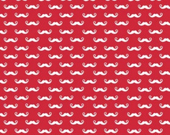 """SALE 33"""" Geekly Chic 2 Red Mustache & Pepe in Paris Fabric by Riley Blake"""