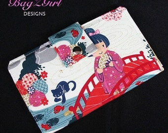 Handmade Long Wallet BiFold Clutch-Indochina-Geisha-Kitty-Fish-Royal-Blue
