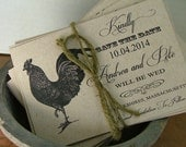 Save the date cards, chicken save the dates, printable save the date cards
