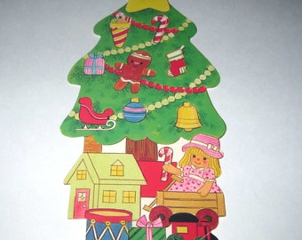 Vintage Eureka Christmas Die Cut Christmas Tree with Ornaments and Toys