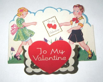 Vintage Gold Gilded Fold Out Valentine Greeting Card with Boy and Girl