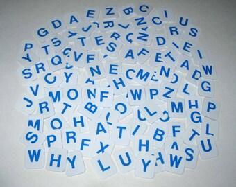 White and Blue Plastic Alphabet Letter Tiles From Hangman Set of 112