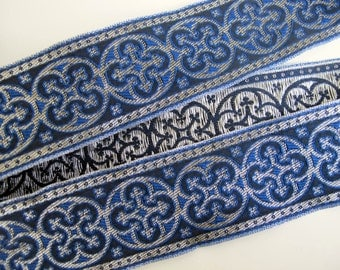 2 yards  BYZANTINE Jacquard trim in metallic antique silver on Royal blue. 1 5/8 inch wide. 958-K