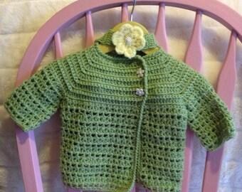 Baby Girl Sweater set- Wasabi Green 6 months  -12 months