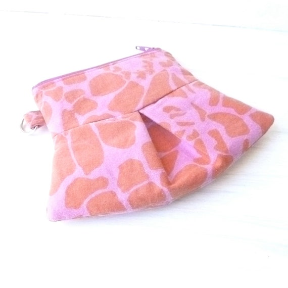 Coin Purse Zipper Pouch. Pink Orange Leopard Print Vegan Recycle Cute Change Holder. Small Gift. Keys Cell Phone Holder