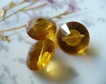 3 Vintage Amber Machine Cut Glass Buttons C15