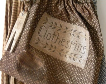Cross Stitch Pattern - Clothespin Ditty Bag - from Notforgotten Farm