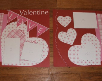 Valentine Love pre-made 12x12 scrapbooking layout pages