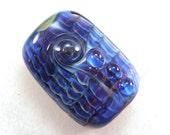 Handmade Lampwork Bead Silver Glass Art SRA Royal Blue Violet Sapphire Lapis Cobalt Navy Azure Grape Wine Pleats Focal USA -- Precious & Few