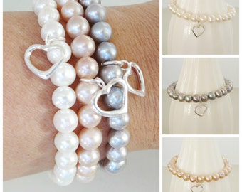 1 Freshwater Pearl Bracelet sterling heart charm stacking friendship fashion jewelry Wedding Bridal