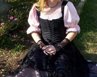 Renaissance Pirate Gown Dress costume naughty Wench Womens Costume Pink black