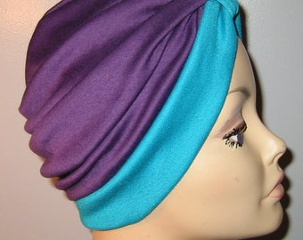 FREE SHIP USA 2-Tone Purple and Teal  Knit Turban, Chemo Hat, Snood, Womens Hat