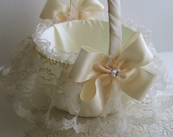 Wedding Flowergirl Basket Handmade Nuance with Lace Skirt Choose White or Ivory