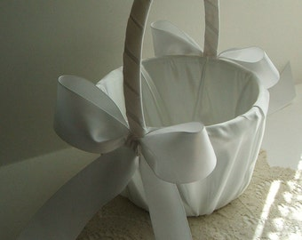 Flower Girl Basket, Flowergirl Basket, Handmade, Wedding, White Basket, Ivory Basket
