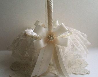 Wedding, Flower Girl Basket, Handmade, PEARL CLUSTER,Flowergirl, White or Ivory
