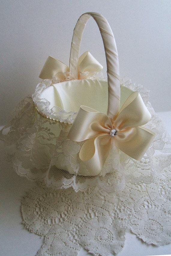 Flower Girl Basket Modern : Wedding flowergirl basket handmade nuance with lace skirt