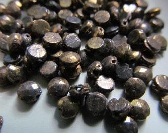Vintage Glass Beads (36) Antique Bronze Nailhead Beads