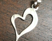 Sterling silver heart pendant - Beautiful shine - Slanted Heart 925 Silver